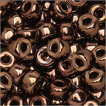 Tjeckisk glasmatubo, 2/0 fröpläd, 20 gram rör, jetbrons