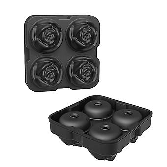 Rose Flower Ice Maker Mould Cocktail Mixing Ice Creative Rose Flower Making 4 Ice Tray Mould(Black)