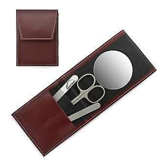 Mont Bleu 3 pièces Manucure Set dans un étui en cuir rouge premium avec miroir et lime à ongles en cristal - Acier