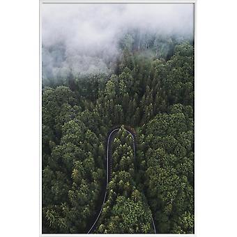 JUNIQE Print -  A Turn In The Road by @szabo_ervin_edward - Wälder Poster in Grün