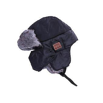 Svart bluetooth vinter fangstmann ushanka vindtett lue lue russiske hatter for menn og kvinner utendørs skisport x3391