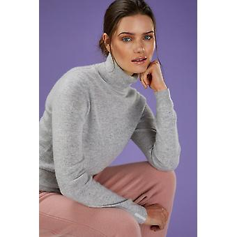 Loop Cashmere Polo Neck Sweater In Foggy
