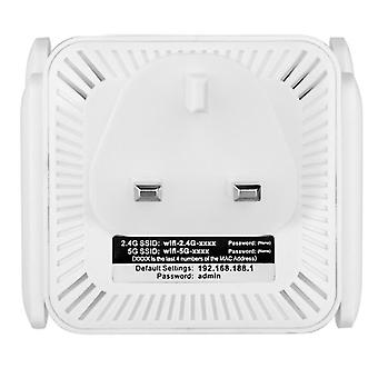 Uk plug white antenna signal booster,2.4 5g dual band wireless extender repeater 1200m wifi booster amplifier az9583
