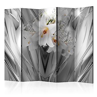 5-teiliges Paravent - Steel Lilies II [Room Dividers]