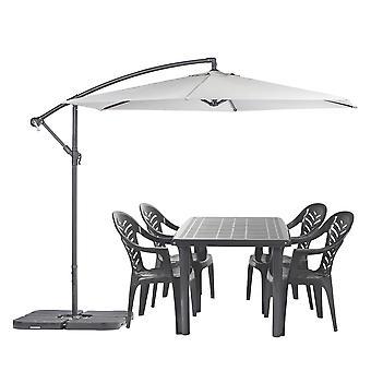 Olot 4 Plazas Jardín Comedor Set con Parasol Patio Mesa &Sillas Verde/Gris