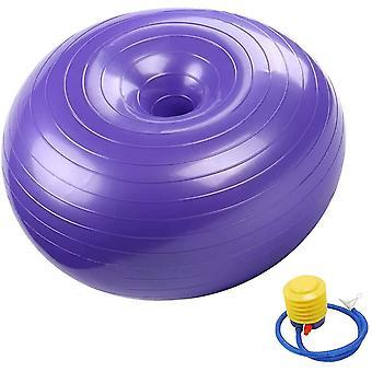 Donut oefening stabiliteit bal voor yoga, oefening bal 55cm met pomp (paars)