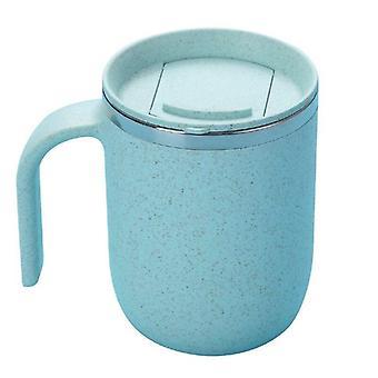 ספל קפה נירוסטה ספל מתכת שתיית ספלים בירה קיר כפול (כחול)