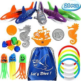 24 Stück Tauchspielzeug für Kinder Unterwasser Pool Spielzeug Set Tauchringe Hai Torpedo Bandits