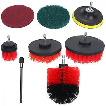 12pcs Drill Brush Attachment For Kitchen/car/floor Red