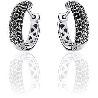 Gisser Jewels - Örhängen - Örhängen set med Svart Zirconia - 5mm Bred - 15mm∅ - Gerhodineerd Zilver 925
