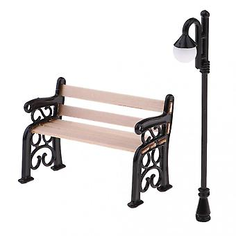 Wooden Park Benches And Street Lights