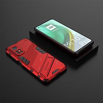 BIBERCAS Xiaomi Mi 10T Pro Case with Kickstand - Shockproof Armor Case Cover TPU Red