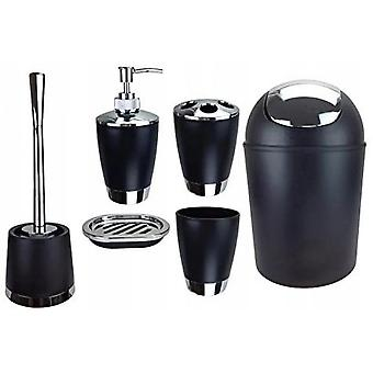 Bathroom Accessories Kit, Pp-6 Parts: Trash Can, Toilet Brush, Soap Dispenser, Toothbrush Holder, Cup, Soap Dish-white