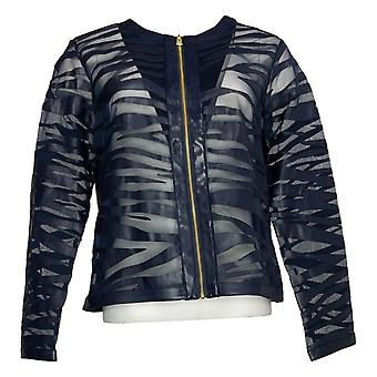 Colleen Lopez Dames Faux Leather &Mesh Tiger Jacket Blauw 749512