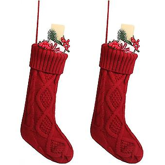 Cable Knit Christmas Stockings, Classic Ornaments For Home Decorations 46 Cm