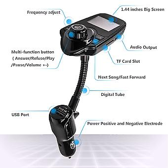 """Bluetooth Fm Car Mp3 Player Hands-free Call 1.44"""" Led Voltage Display Usb"""