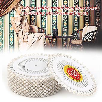 Pratique 480pcs / set White Dressmaking Couture Pins Droites Tête Ronde