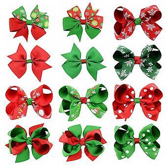 12 Pcs Christmas Grosgrain Ribbon Bows With Clip Hair Clips Hair Pin