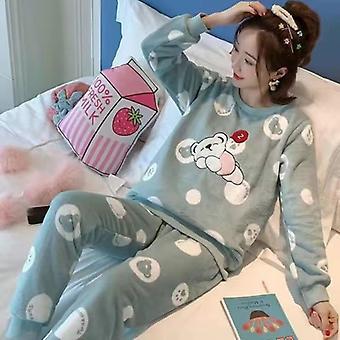 Niedliche Cartoon Coral Fleece Pyjamas Frauen Winter Warm Flannel Pyjamas