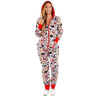 Women Christmas Xmas Print Hooded Jumpsuit Pyjamas Romper Hoodie Homewear Zipper