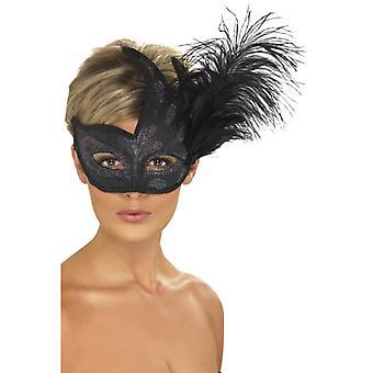 Μισή μάσκα μαύρο ασημί πούλιες φτερά Βενέτζια μάσκα ματιών
