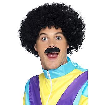 Afro paryk overskæg Petry sæt paryk sort