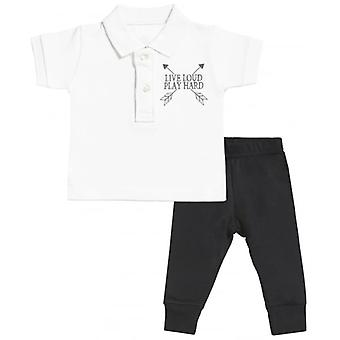 Spoilt Rotten Live Loud Baby Polo T-Shirt & Baby Jersey Trousers Outfit Set