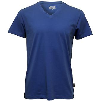 Jockey v-neck T-Shirt Jersey aus Baumwolle, blau