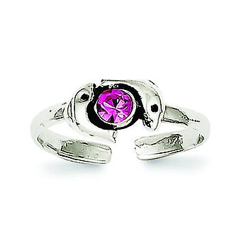 925 Sterling Silver Solid finish Pink CZ Cubic Zirconia Simulated Diamond Dolphin Toe Ring Jewelry Gifts for Women