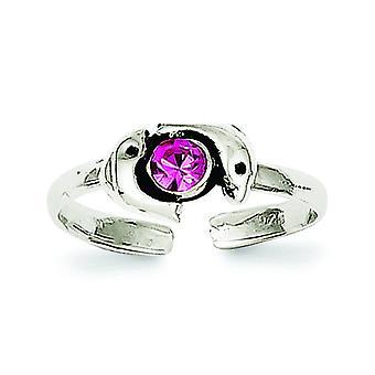 925 Sterling Silver Solid dokončiť Pink CZ kubický zirkónia simulované Diamond Dolphin Toe prsteň šperky Darčeky pre ženy