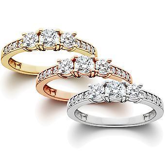 1 ct 3 - stein diamant forlovelsesring i 14k hvit, gul, Rose Gold
