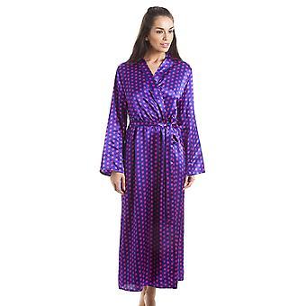 Камилла-фиолетовый с розовый горошек роскошь сатиновый халат