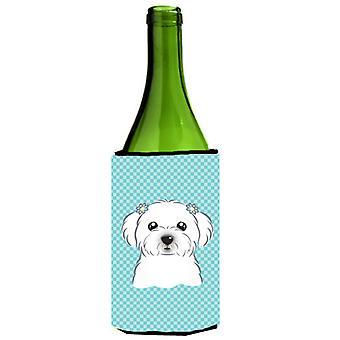 Szachownica niebieską butelką wina Maltański napój izolator Hugger