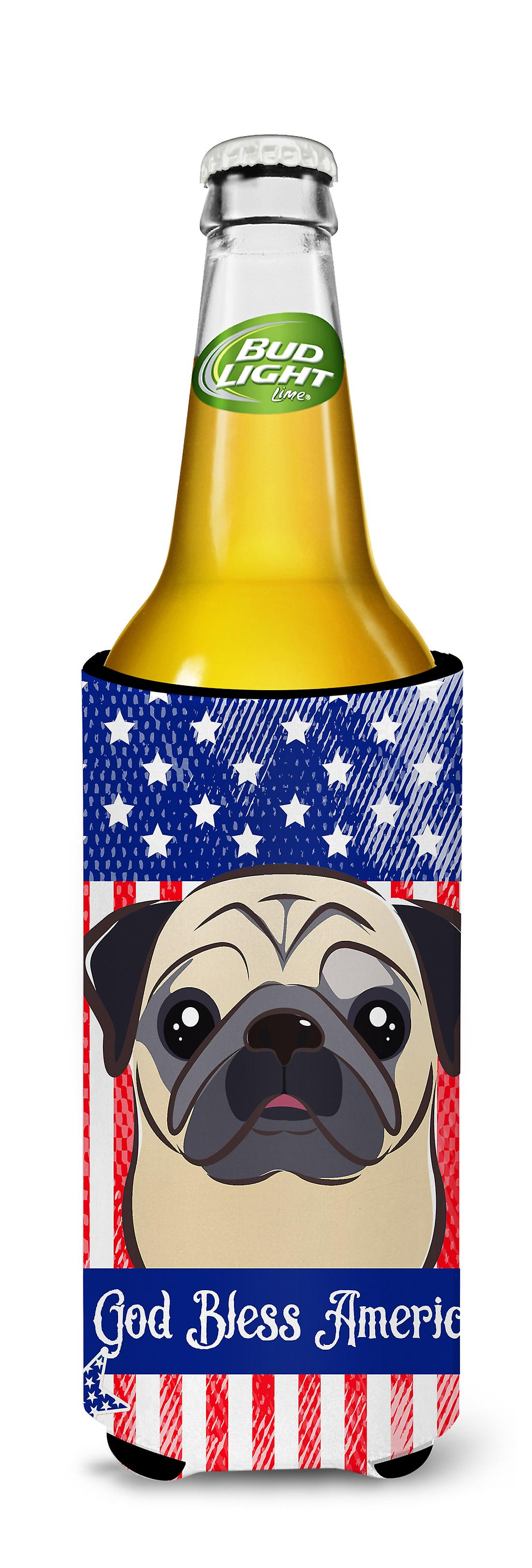 Lady with her  Fawn Pug Ultra Beverage Insulators for slim cans