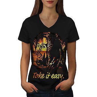 Take it Easy Marley Rasta Women BlackV-Neck T-shirt | Wellcoda