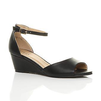 अजवानी महिलाओं कम मध्य वेज एड़ी झांकना पैर की अंगुली का पट्टा स्मार्ट आकस्मिक शाम सैंडल