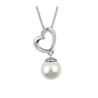 Heart White Pearl necklace and Rhodium Plate 5228