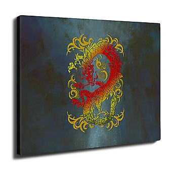 Fantasy Dragon Mystical Wall Art Canvas 40cm x 30cm | Wellcoda