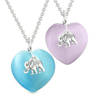 Lucky Elephant Charms Liebe Paare Beste Freunde Amulette blau lila simulierten Katzen Auge Halsketten