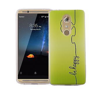 Caso de telefone celular para ZTE axônio 7 tampa mini saco de proteção caso motivo magro do silicone TPU ser feliz verde