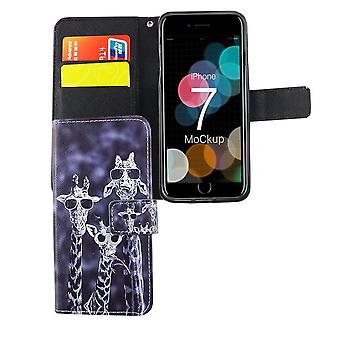 Mobile phone case pouch for phone Apple iPhone 8 3 giraffes