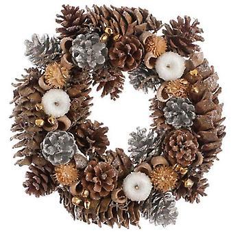 Festive Productions 30cm Frosten Apples Bells Pinecones Bauble Christmas Wreath