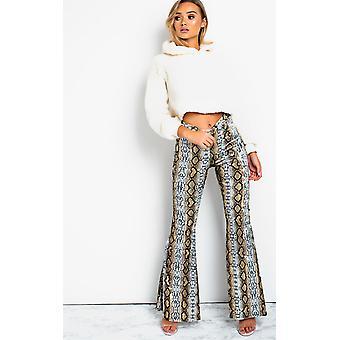 IKRUSH Womens Steffi cintura alta Flare calças de veludo