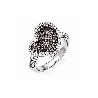 925 Plata de Ley y Zirconia CZ Cubic Zirconia Diamante Simulado Brasas Brillantes Brasas Amor Corazón Anillo Joyería Regalos para Mujeres - R