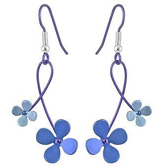 Ti2 Titanium 30mm Double Drop Four Petal Flower Earrings - Blue
