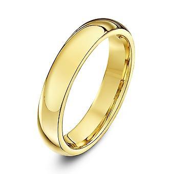 Star Wedding Rings 9ct Yellow Gold Heavy Court Shape 4mm Wedding Ring