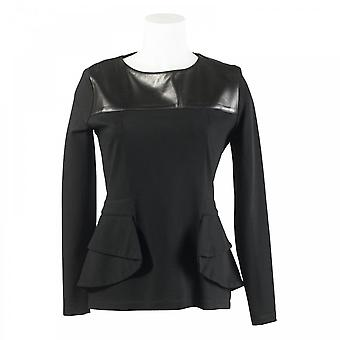 Isabel De Pedro Structured Leather Panel Jersey Top