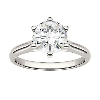 14K White Gold 7.5mm Moissanite by Charles & Colvard 6-Prong Solitaire Engagement Ring, 1.5ct DEW