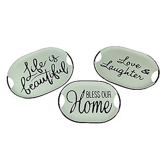 Black and White Decorative Metal Trays With Life Love and Home Wording Set of 3