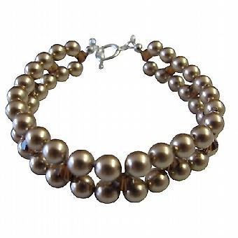 Handcrafted Jewelry intrecciano 3 incagliato bronzo bracciale di perle sposa